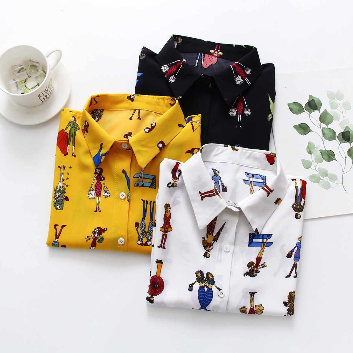 Outono Nova Moda Feminina Manga Comprida de Algodão Solto Tops Blusas Camisas Casuais Camisa Estampa Floral Blusa