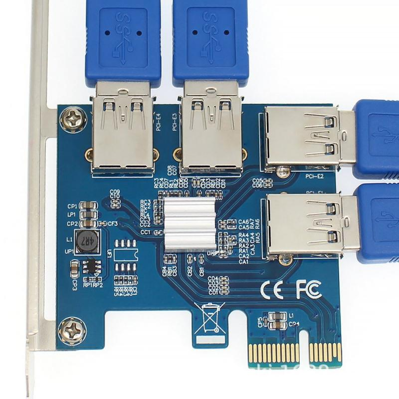 PCI-E بطاقة الناهض 4-port إلى USB محول PCI-E X1 إلى USB 3.0 كابل PCI Express 1X إلى 16X موسع PCIe محول للتعدين التعدين