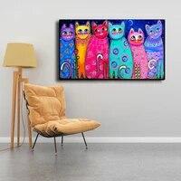 Peintures sur toile de chats colores pour chambre denfants  affiches murales et imprimes dart moderne a la mode  decoration de maison
