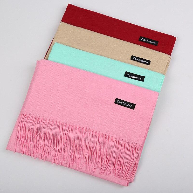 all/winter hot style 250g classic monochrome tassel wild warm shawl gift Pure color imitation cashmere scarf women f