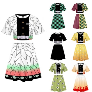 Demon Slayer T Shirt Skirts  Kawaii Cartoon Blade of Ghost Graphic T-shirt Kimetsu No Yaiba Anime Demon Blade Cool Tshirt Skirts