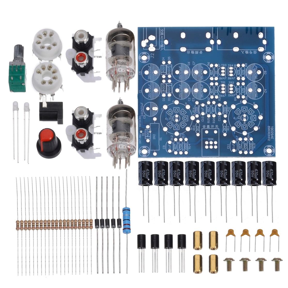1pc DIY Tube Amplifier Audio Board 2.0 Channel AC12V 0.8 A Pre-Amp Audio Mixer 6J1 Valve Bile Buffer Amplifiers DIY Kit