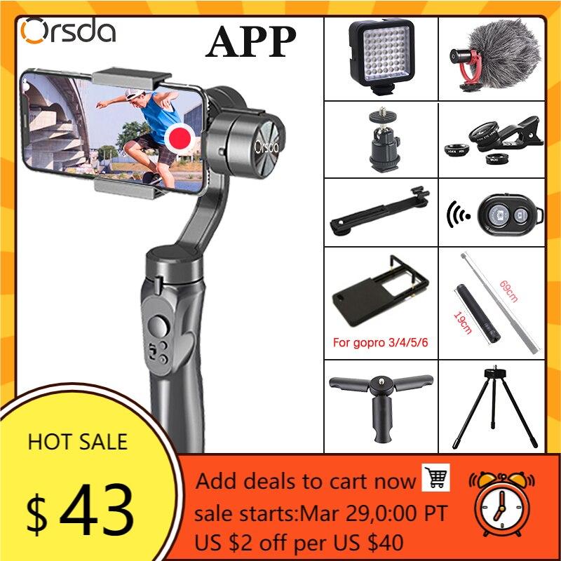 Tripé para Conexão Orsda Cardan Estabilizador Gopro Câmera Shandheld Selfie Vara Smartphone Bluetooth App h4 3-axis
