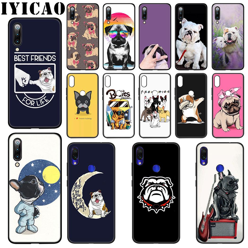 IYICAO Bulldogs perro funda de silicona suave para Xiaomi 9 8 SE A2 Lite A3 9T Pro A1 CC9 5X 6X MAX 3 F1 caso