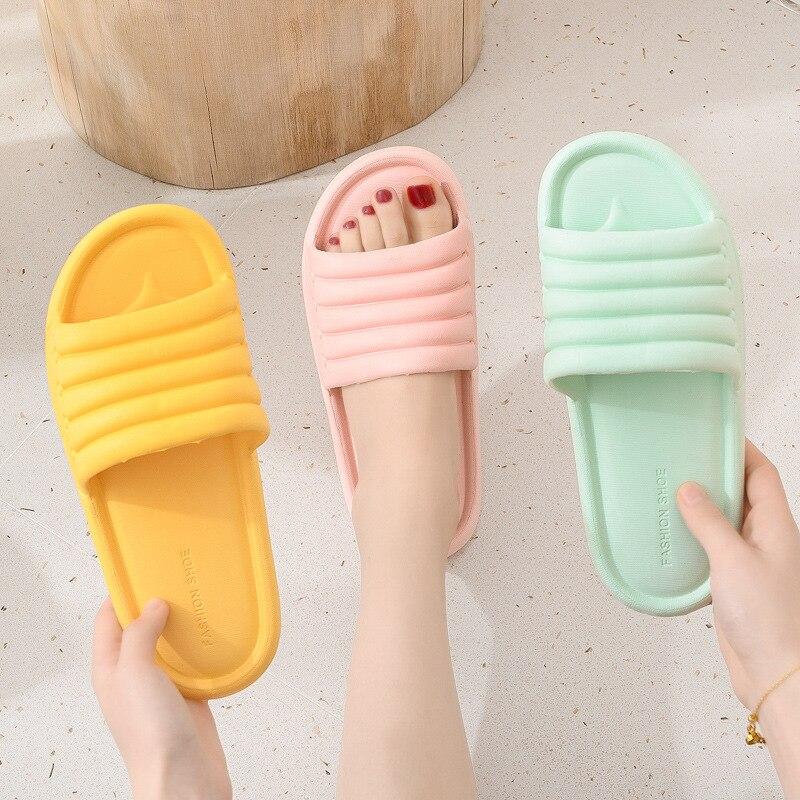 Летние женские домашние тапочки на плоской подошве; Комнатные тапочки Eva Вьетнамки; Женская обувь на нескользящей подошве для ванной к…