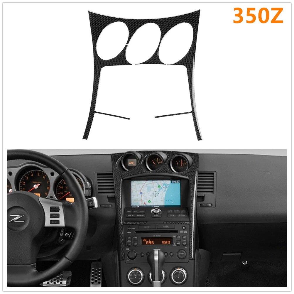Para nissan 350z z33 2006-2009 carro de fibra de carbono rádio ar condicionado console painel capa modificado adesivo decorativo