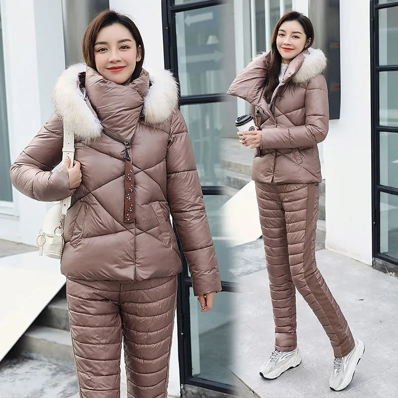 النساء الشتاء أسفل سترة قطن دعوى الإناث موضة كبيرة التلبيب الفراء طوق جيوب الدافئة قطعتين مجموعة ضئيلة ملابس خارجية السراويل معطف