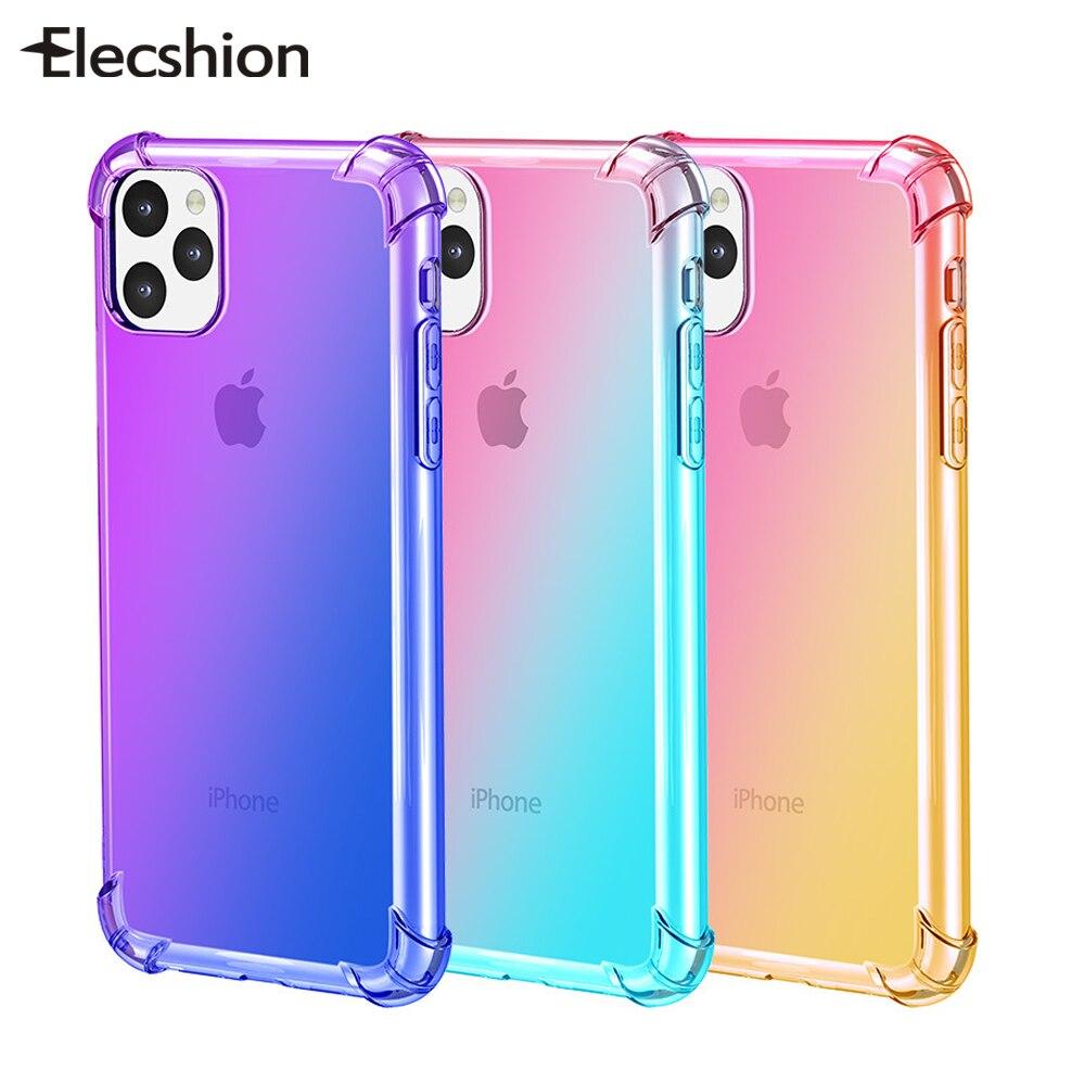 Funda de silicona arcoíris para iPhone 11 Pro, Funda transparente con degradado para iPhone 11 Pro Max, carcasa de TPU suave, carcasa para iPhone 11
