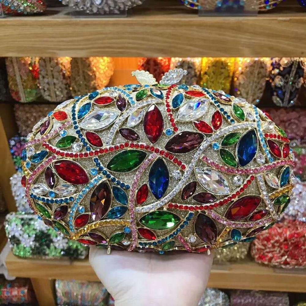 حقيبة كتف نسائية من حجر الراين ، ذهبية/فضية/خضراء ، حقائب سهرة فاخرة ، حقيبة حفلات صغيرة