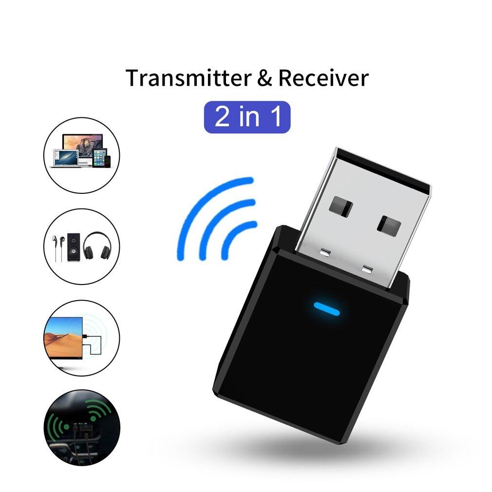 Transmissor e receptor 2 em 1 usb 5.0 + edr, adaptador e recebedor para tv, pc, fones de ouvido, casa, estéreo para carro, bluetooth adaptador receptor de áudio sem fio,