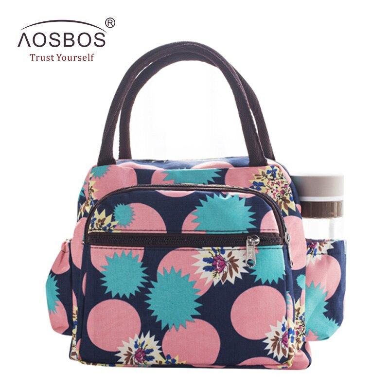Aosbos, bolsa de almuerzo de Picnic impermeable, bolsa de lona portátil Oxford, bolsas de almacenamiento de alimentos para mujeres, caja de almuerzo, bolsa térmica de impresión