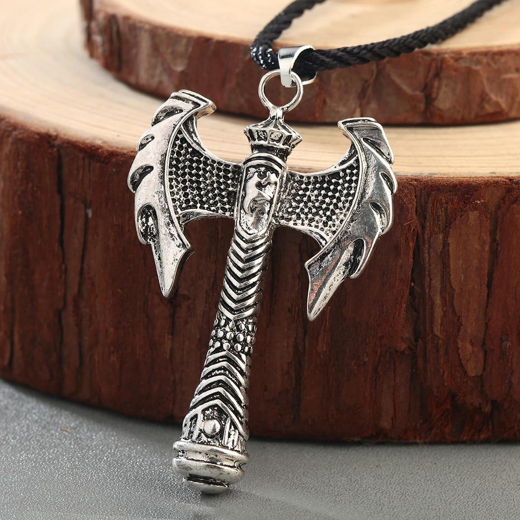QIAMNI hombres Slavic Perun Axe talismán colgante collar vikingo Minos amuleto nórdico gótico Retro pagano Grecia joyería Collier regalo