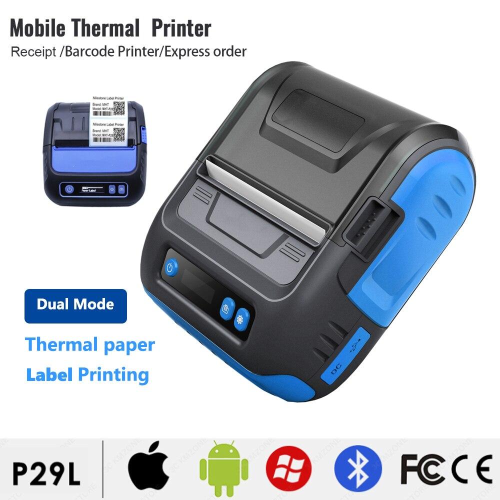 P29L USB الأزرق الأسنان التجارية ملصق صانع قابل للتعديل استلام الطباعة 3 بوصة 80 مللي متر لمكتب متجر اكسبرس التسمية طابعة التذاكر