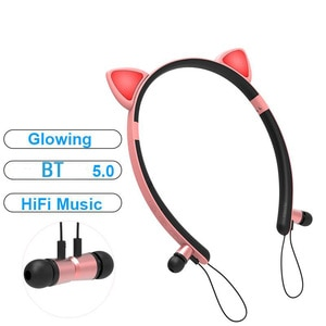Wireless Bluetooth-compatible 5 Headphones Magnetic Cute Cat Earphone Hifi Stereo Sport Anti-sweat Headset With Mic Girl's Gift
