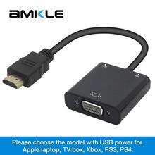 Amkle HDMI VGA adaptateur HDMI mâle vers VGA femelle convertisseur vidéo 1080P numérique vers analogique Audio pour PC portable tablette projecteur