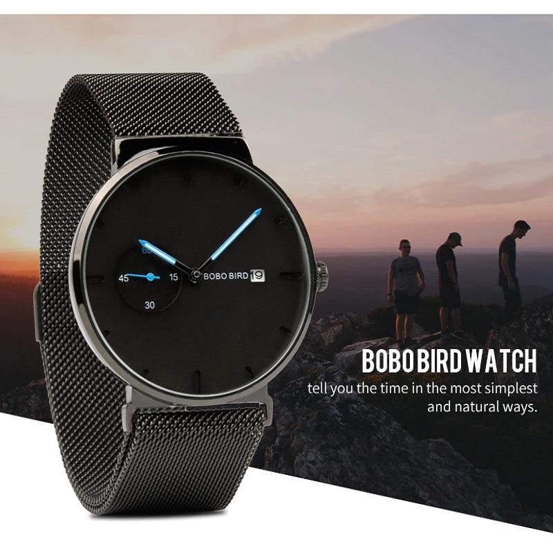 BOBO BIRD/металлические часы для мужчин и женщин, Relogio Feminino, наручные часы с календарем, кварцевые мужские часы с логотипом на заказ, подарок для мужчин, мужа в коробке