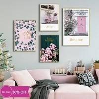 Toile de decoration de noel  affiches de peinture  fleurs roses  tableau dart mural de velo pour decoration de salon  decoration de maison