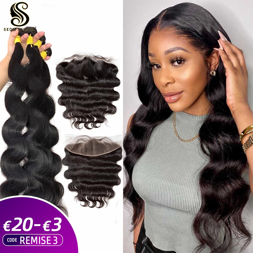 28 30 34 40 Inch Body Wave Bundles Brazilian Hair Weave 3 4 Bundles With 13x4 Lace Frontal and Closure Remy Human Hair Extension