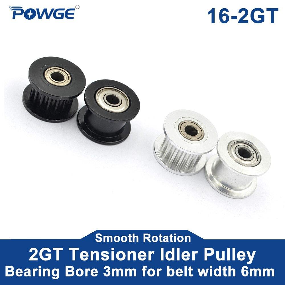 POWGE 2GT 16 Zähne synchron Umlenkrolle Bohrung 3mm mit Lager für Breite 6MM GT2 zahnriemen Passive rad 16 T 16 zähne 5 stücke