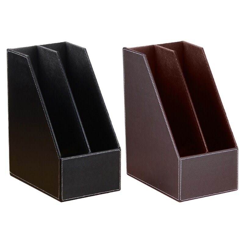2 Slots PU Leather File Holder Magazine Rack Newspapers Organizer Cabinet Documents A4 Paper Storage Tray for Office