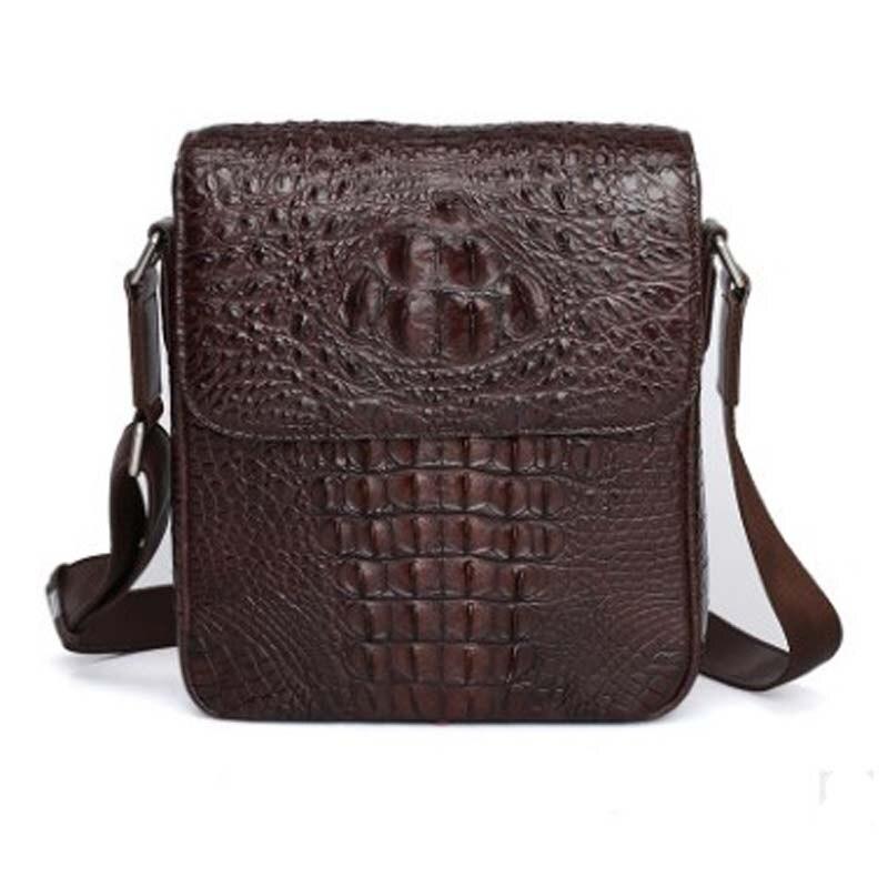 hujingsha Thai men's crocodile skin single-shoulder bag simple casual leather zipper large capacity cross-body bag man bag