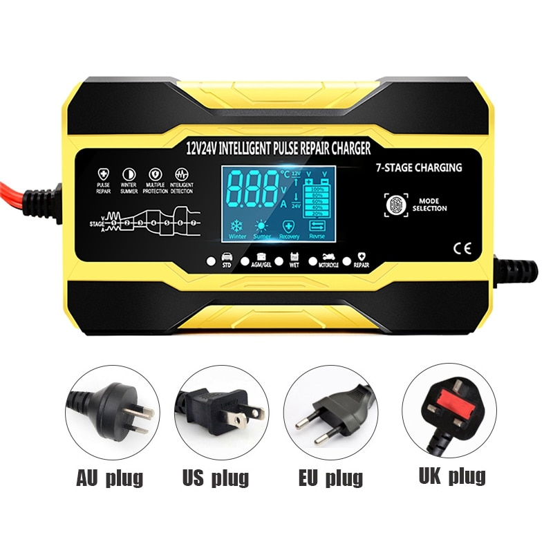 intelligent full automatic car battery charger 12v 10a 24v 7a pulse repair motorcycle scooter battery charger for acid lithium Automatic Smart Car Battery Charger 12V/10A 24V/5A with LCD Display Pulse Repair Charger for Car, Boat, SUV