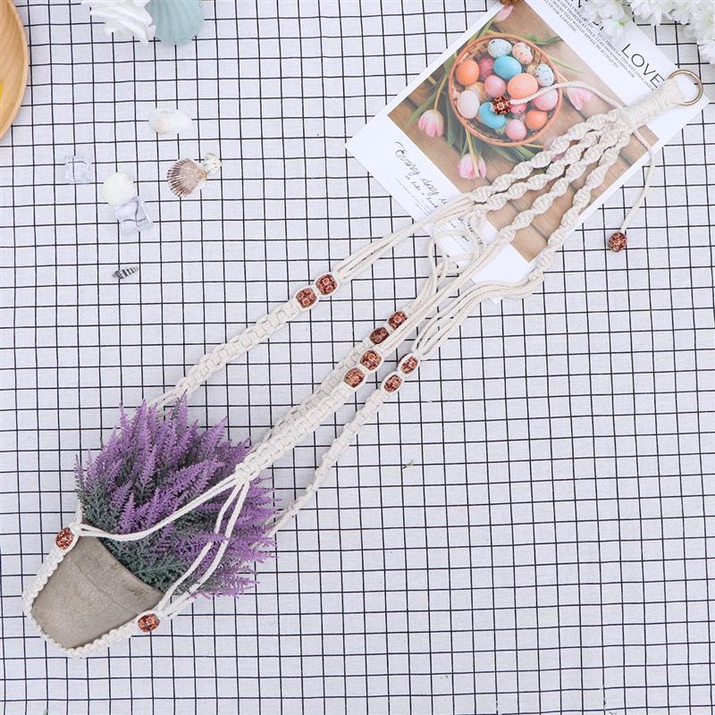 1 Uds. Cuerda de algodón decoración colgante tejido a mano maceta bolsa de red para tienda jardín hogar