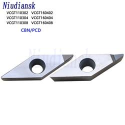 Vcgt110302 vcgt110304 vcgt110308 vcgt160404 vcgt160408 cbn pcd inserções de diamante ferramenta de torneamento interno torno cnc cortador ferramenta lâmina