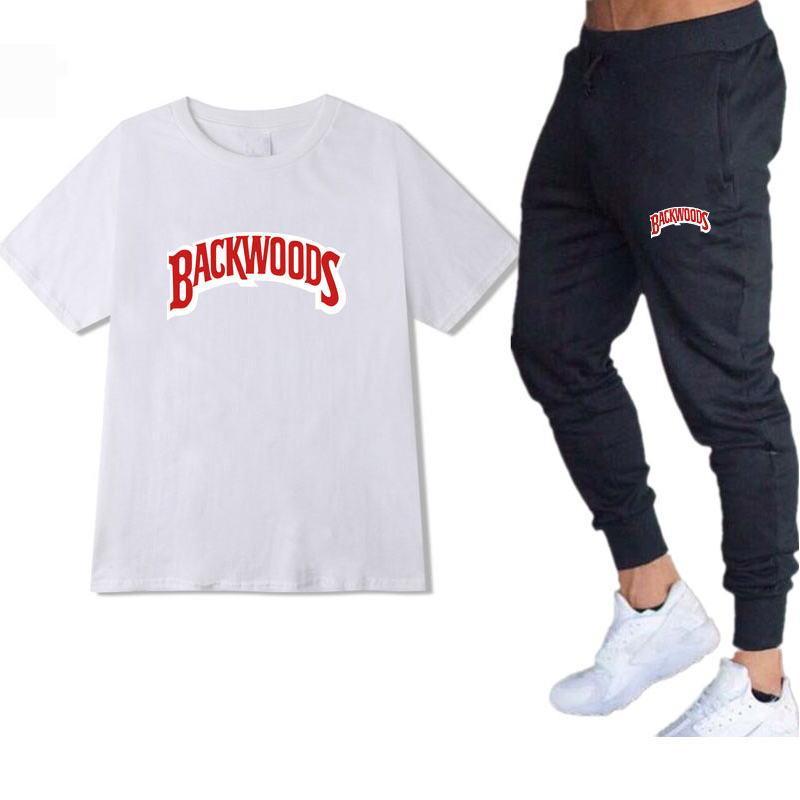 Conjuntos deportivos de verano para hombre, camisetas de algodón puro, pantalones deportivos...