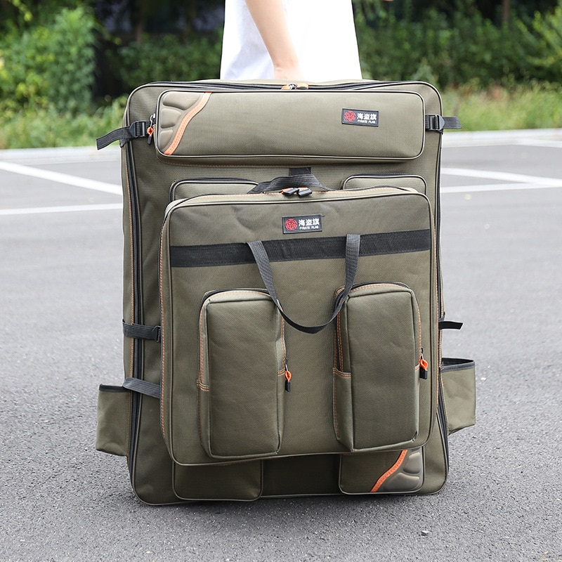 سعة كبيرة مقاوم للماء الصيد على ظهره 1680D سميكة Wearproof أكسفورد القماش الصيد كرسي حقيبة في الهواء الطلق الصيد معدات صيد الأسماك حقيبة