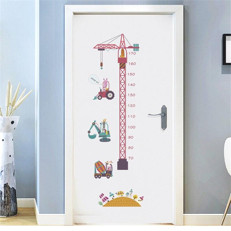 Große Lustige Rosa Turm Kran Höhe Aufkleber Für Kinder Zimmer Schlafzimmer Höhe Meter Wand Aufkleber Nursery Home Decor Cartoon Tier