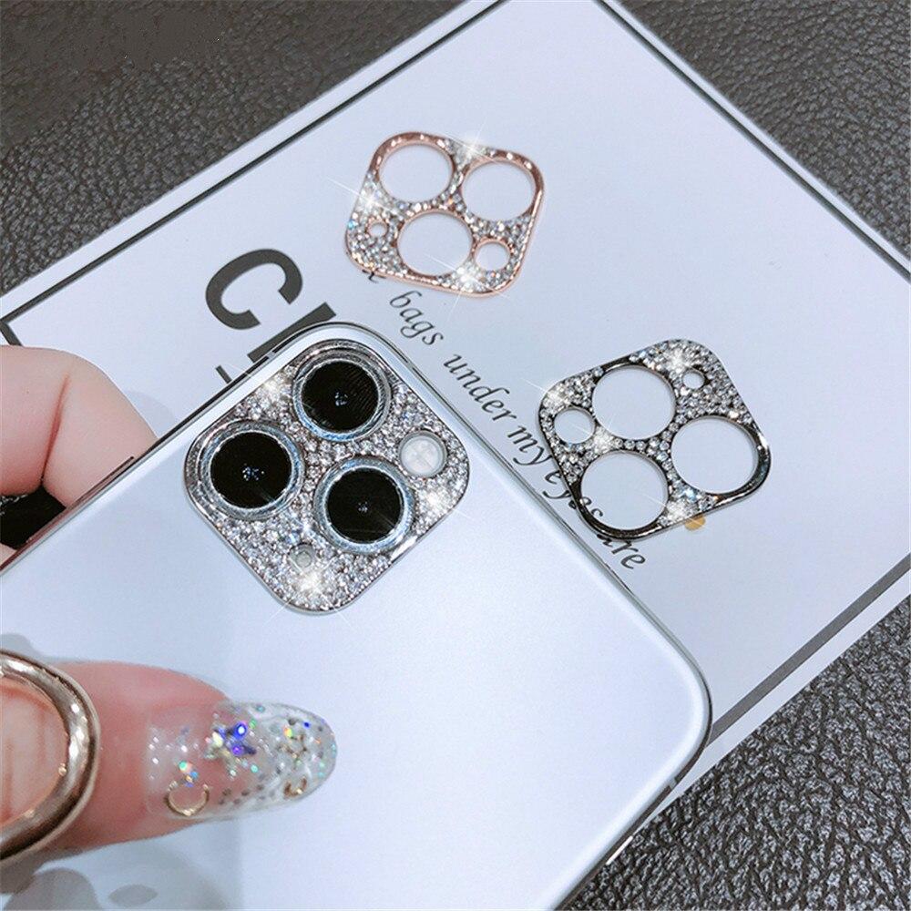 Diamond Metal Glitter Phone Camera Lens Protection Case for iphone11 11pro 11pro max Camera Lenses P