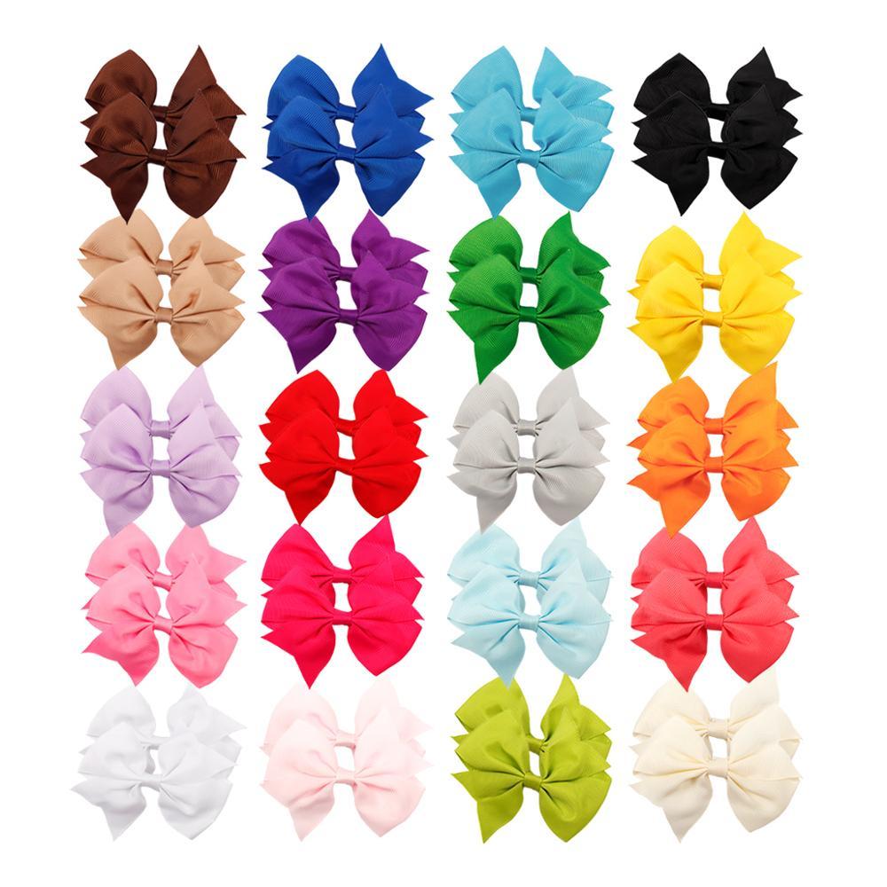 40 unids/set bebé chica colorido lazo de cabello grande Clips 20 colores...