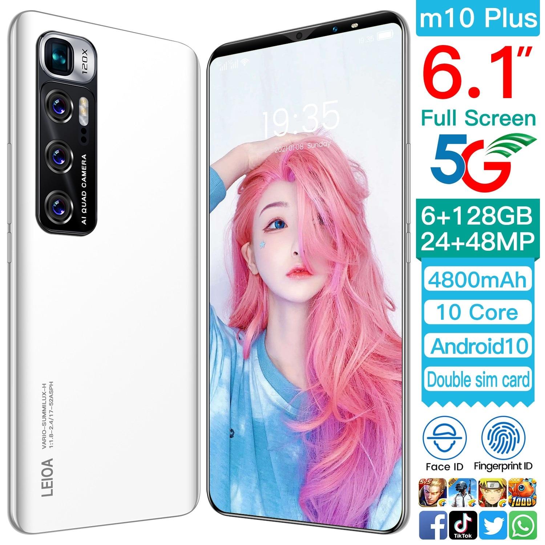 M10 Plus 6.1 بوصة 4800mah8 + 128gb بصمة معرف 10 Core Andriod 11 المزدوج سيم الهاتف الذكي + مايكرو Sd هاتف محمول أسود