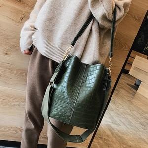 Vintage Leather Stone Crossbody Bags Designer For Women Shoulder Bag Fashion Luxury Handbags And Purses Zipper Bucket Bags Bolsa