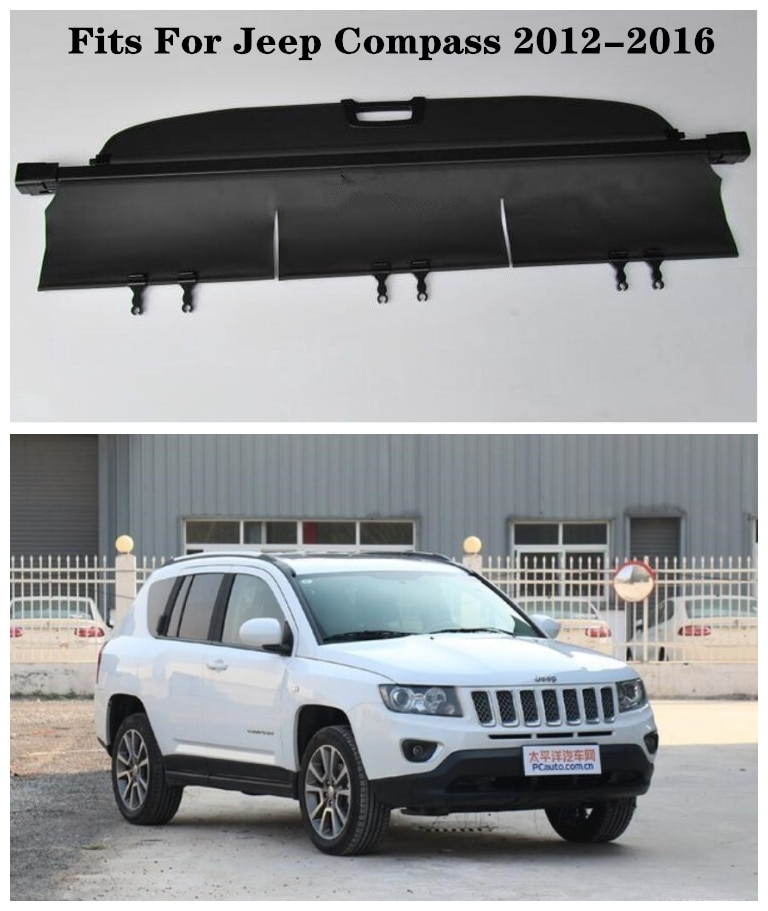 High Qualit Car Rear Trunk Cargo Cover Security Shield Screen shade Fits For Jeep Compass 2012-2016(black, beige)