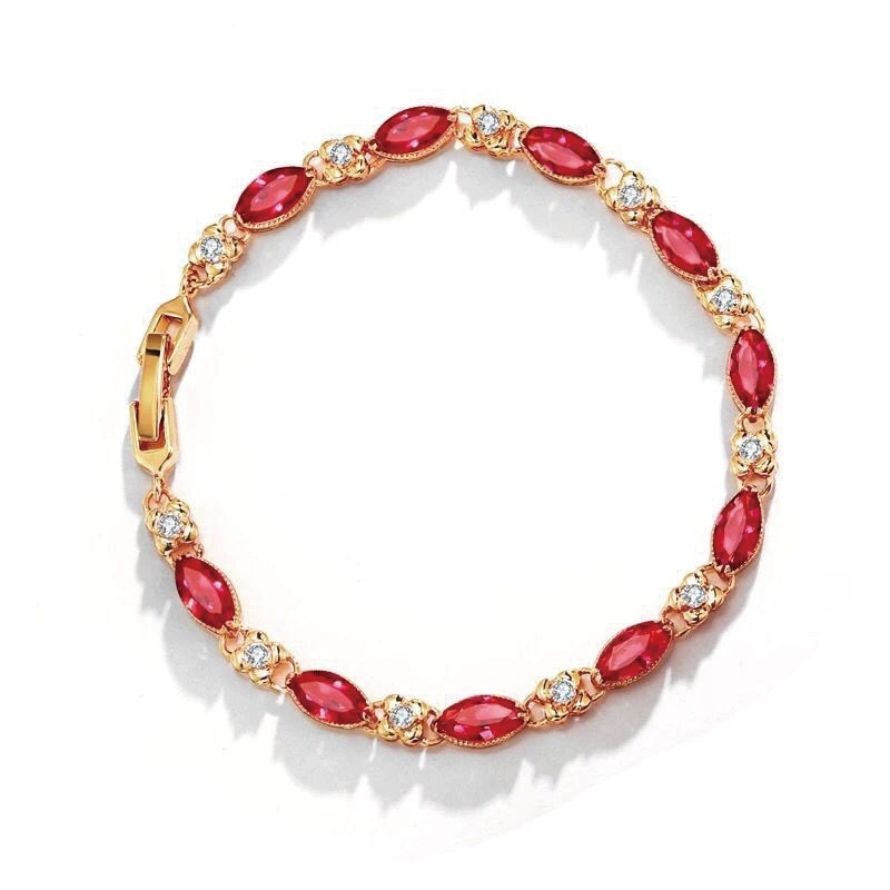 MxGxFam (17.5cm+3cm ) New Green / Red Zircon Bracelets For Women Fashion Jewelry Pure Gold Color 24 k