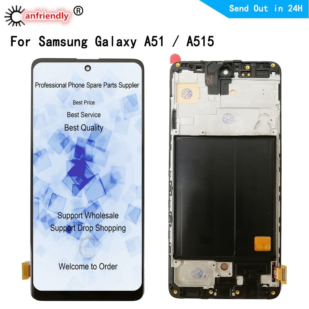 LCD لسامسونج غالاكسي A51 SM-A515F/DSN A515F/DST A515F/DSM A515F/N LCD شاشة عرض لوحة اللمس محول الأرقام مع الجمعية الإطار