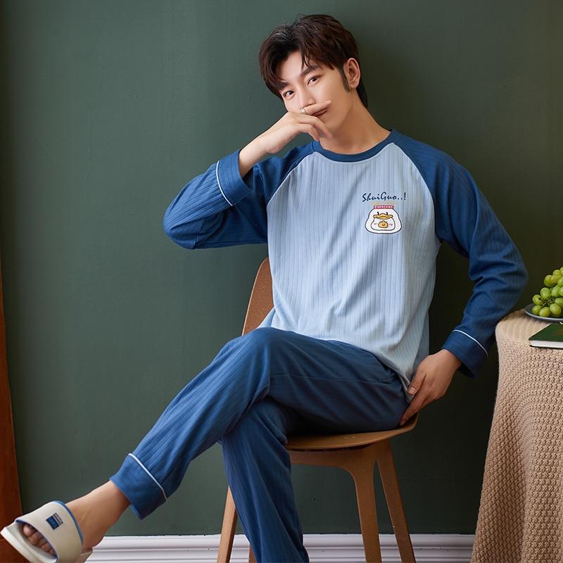 Весна и Осень Новинка Мужчины% 27 Пижамы Комплекты Пижамы С длинными рукавами Брюки Хлопок Корейский Версия Комфортный Дом Сервис 2021