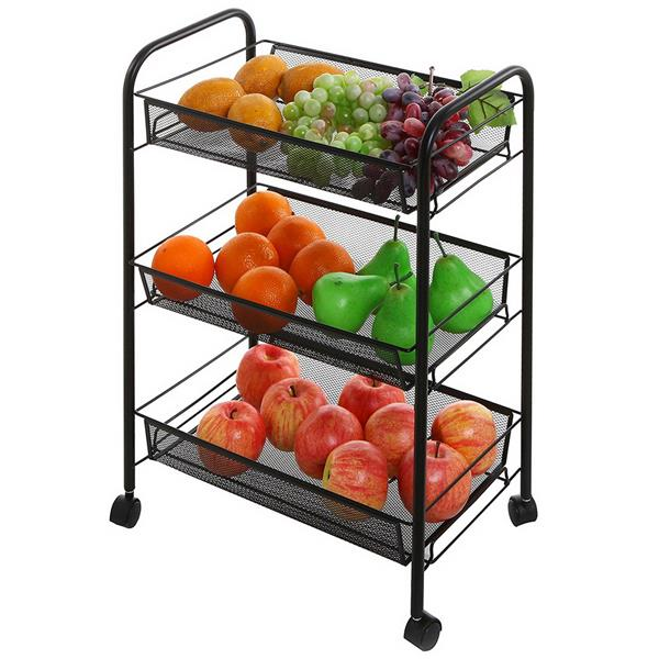 Estante de almacenamiento de malla de 3 niveles, ruedas rodantes, carrito de hierro metálico para sala de estar, cocina
