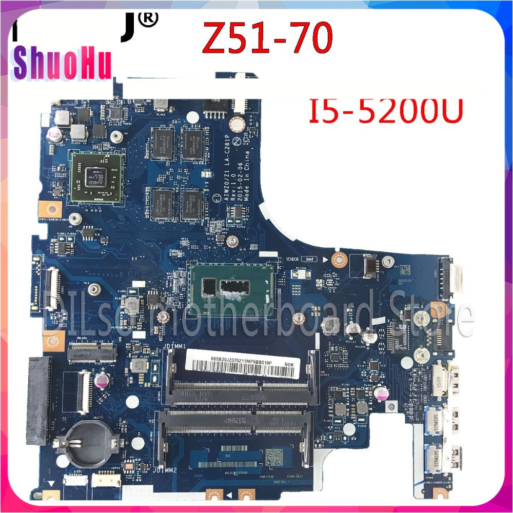 KEFU Z51-70 اللوحة لينوفو Z51-70 اللوحة AIWZ0/Z1 LA-C281P Rev1.0 I5 اختبار اللوحة الأصلية العمل 100% DDR3 HM76