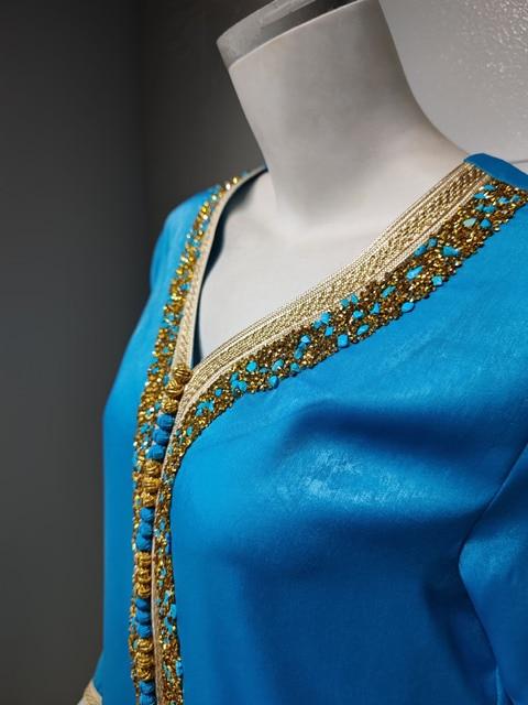 Ramadan Eid Blue Maxi Dress For Women Modest Muslim Turkey Arabic Dubai Diamond Ribbon V Neck Long Sleeve Jalabiya 2021 6