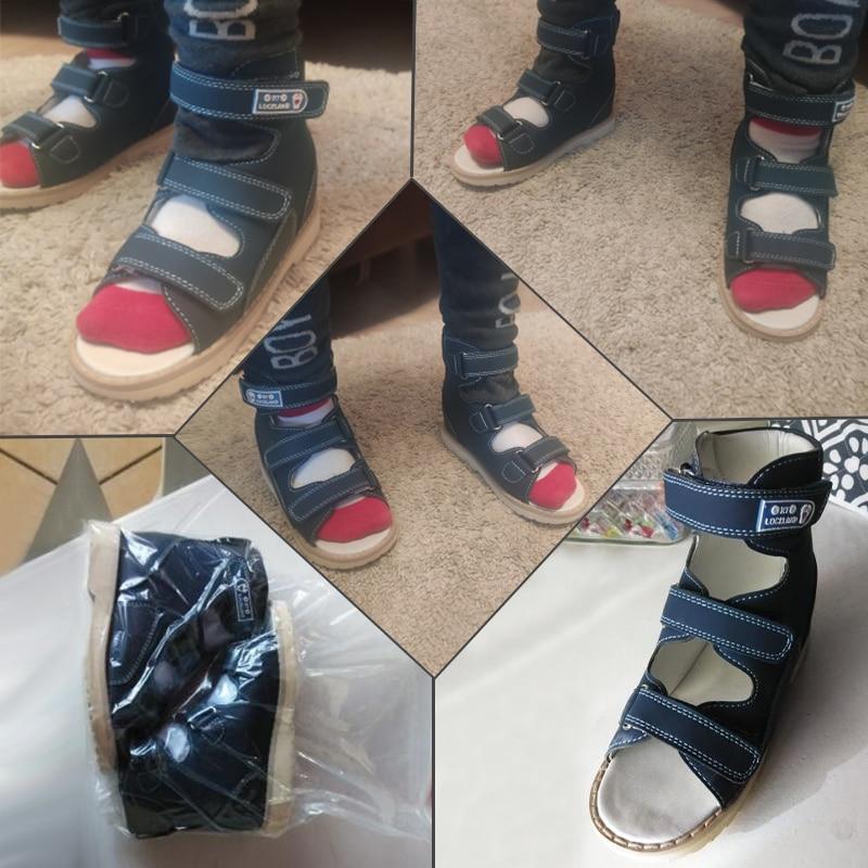 Ortoluckland New Children Sandals Boys Orthopedic Nubuck Leather Shoes Toddler Kids Dark Blue Casual Corrective Flat Footwear enlarge
