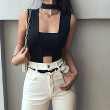 Fashion Sexy Hollow Women's Jumpsuit Round Neck Black Slim Fit All-match Thin Rompers Summer 2020