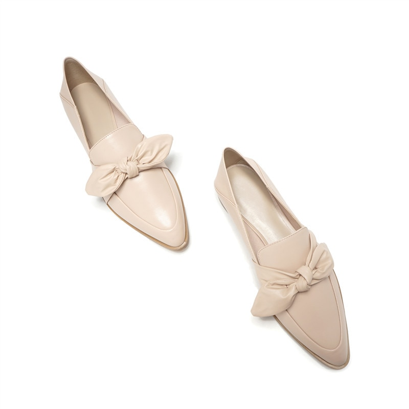 ¡Novedad de primavera y otoño 2019! zapatos planos de punta para mujer, mocasines A Pedal con lazo, zapatos de moda para mujer, zapatos planos de Ballet de cuero