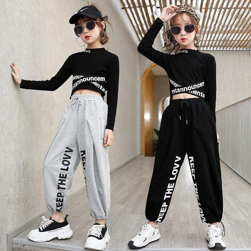 New Girls Jazz Dance Costumes Kids Hip-Hop Clothes Letter Print Long Sleeve T-shirt Jogger Pants Suit Street Dance Rave Outfits