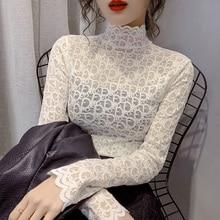 CMAZ Blouses For Women 2021 autumn winter lace elegant inner wear shirts female tops long sleeve sli