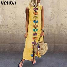 Women Patchwork Sundress VONDA 2020 Summer Maxi Dress Kaftan Casual Loose Sleeveless Tunic Vestidos Female Long Robe Plus Size