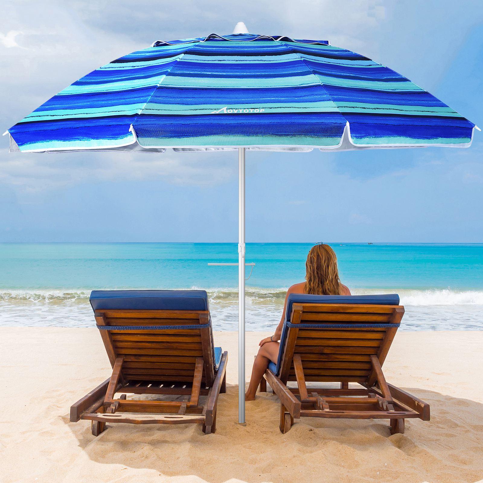 MOVTOTOP S21O 6.5ft Beach Umbrella Outdoor Sunshade Umbrella Crank Adjustable Umbrella Canopy for Garden Camping Backyard Beach