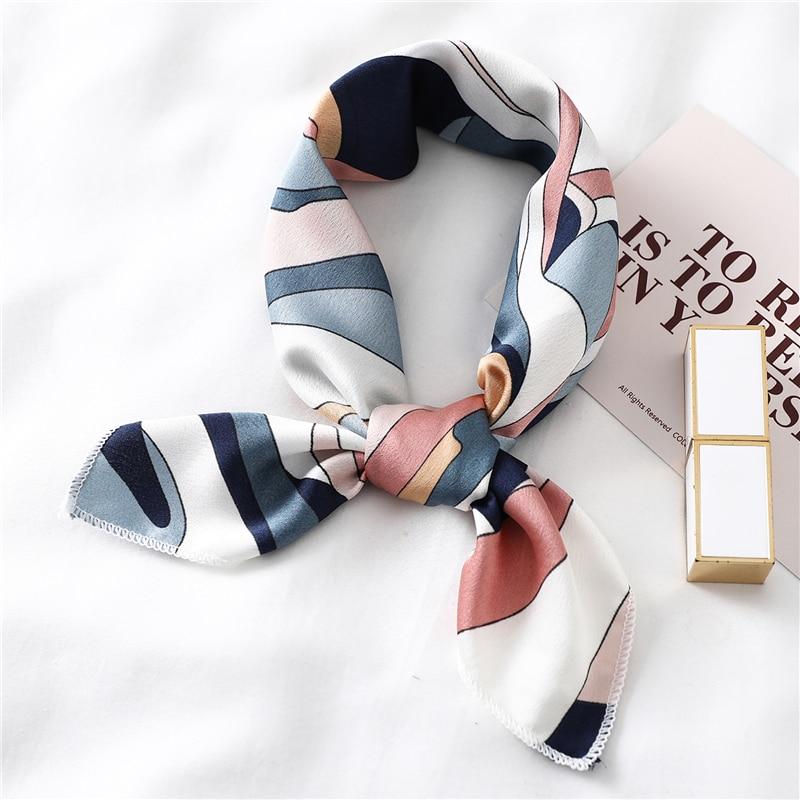 Quadratischer Seidenschal für Frauen mit Modedruck, kleinen Halstüchern, Haarband der Bürodame, Taschentuch, weibliches Kopftuch